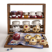 Set with cupcakes and jam jars
