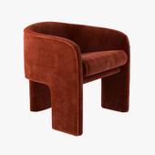 milo baughman armchair in orange velvet