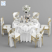 Wedding table for 6 persons 2 Vray