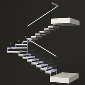 Staircase with a sash area - made of marble, glass and chrome metal with backlight PROFI LED IP44