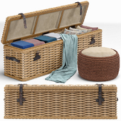 Brenna Leather Accent Woven Rattan Trunk, пуф
