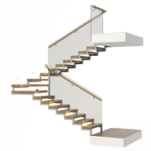 Stairs with a landing platform - made of wood, glass and metal with illumination PROFI LED IP44