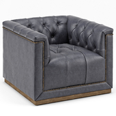 Emmy Rustic Lodge Black Leather Tufted Cube Armchair
