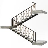 Stairs of concrete, metal and rope, illuminated Astro 7481 Borgo 43