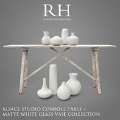 RH Alasace Studio Console Table + Vase Collection