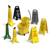 "A set of warning signs ""Wet Floor"""