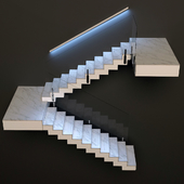 Ladder made of marble, glass and metal with built-in LED illuminated handrail