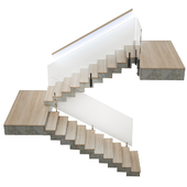 Stairs made of wood and concrete with built-in LED illuminated handrail