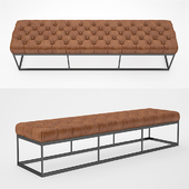 "78 ""TUFTED LEATHER & METAL BENCH"