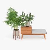 mid century storage bench acorn