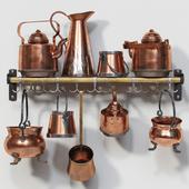 Set of old copper utensils
