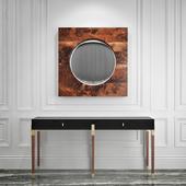 Console Benoit, mirror Holywood Convex Mirror - Hudson