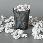 Мусорная корзина с бумажками