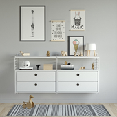Children's chest of drawers with toys String System