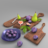 Set for kitchen Fig + cutting Board + knife
