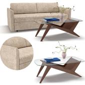 West Elm Sofa Clara Storage Twin Futon & Marcio Display Coffee Table