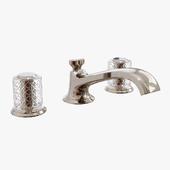 Kallista - Script Sink Faucet, Low Spout, Saint Louis Crystal, Clear Knob Handles - P25050