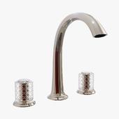 Kallista - Script Sink Faucet, Arch Spout, Saint-Louis Crystal, Clear Knob Handles - P25051-SLC