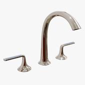 Kallista - Script Sink Faucet, Arch Spout, Celeste Blue Wave Enamel Lever Handles - P25055