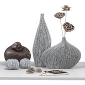 Декоративный набор статуэтка Хотей + вазы