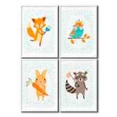 A set of children's posters for the decoration of a children's room with a rabbit, a fox, an owl and a raccoon.
