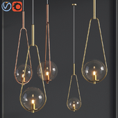 Pendant Lamp Loop Brass Glass