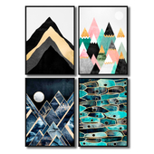 Posters with abstract mountains, sea, sun and moon.