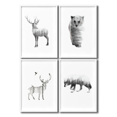 Posters with forest animals - wolf, bear, deer.