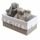 Soft toys in the basket