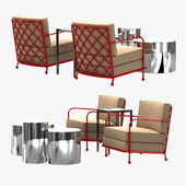 custom made club chair side table and Cerchi Coffee Table