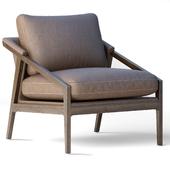 Culvin Mid Century Modern Taupe Cushioned Brown Oak Lounge Arm Chair