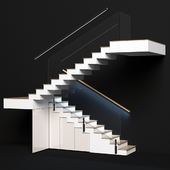 Modern staircase with built-in storage system