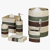 Modern Line Sage Striped Bath Accessories