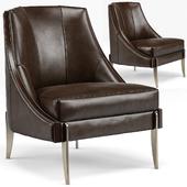 Keene Modern Classic Espresso Brown Leather Bronze Arm Chair