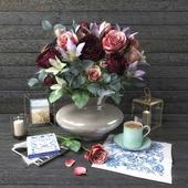 Decorative set with bouquet