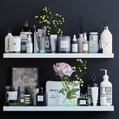 Shelves with cosmetics and bathroom decor - 1