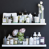 Shelves with cosmetics and bathroom decor - 2