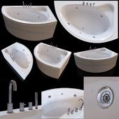 Acrylic corner bath Cezares Tebe 150x100 R