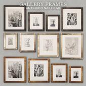 RH Antiqued Nailhead Gallery Frames - Antique Brass - Zinc - Black Zinc