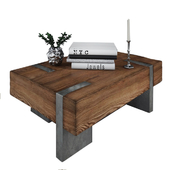 Coffee table from wood and metal