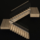 Stairs made of wood with illuminated stairs