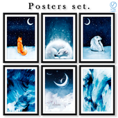 Collection of abstract blue posters.