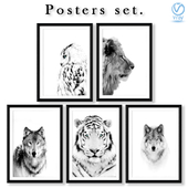Collection of black and white posters with predators.