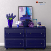Decorative set with chest of drawers