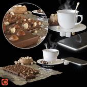 Chocolate, coffee, nuts