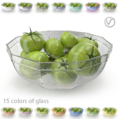 Green tomatoes in a coal, glass plate (15 colors of glass, with drops of water and without)