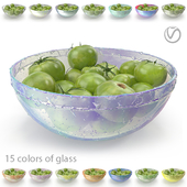 Green tomatoes in a round, glass plate (15 colors of glass, with drops of water and without)