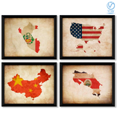 A series of posters with maps and flags of different countries.