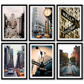 A series of posters with sights of the city of New York (New York City).