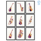 A series of abstract posters with musical instruments.